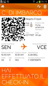 App easyJet, carta d'imbarco