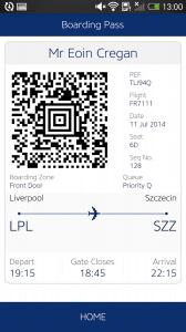 Carta d'imbarco Ryanair su cellulare